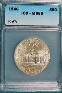1946 ICG MS65 IOWA STATEHOOD CENTENNIAL Half Dollar!! #E0789