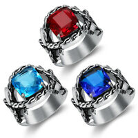 Fashion Charms Mens Silver Stainless Steel Princess Gemstone Wedding Band Rings