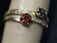 18K gold natural  Sapphire, Garnet & Diamond  Ring 2.85 Grams, Vintage