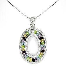 Halskette Blautopas Peridot Amethyst Citrin Granat & CZ 925 Silber 585 Weißgold