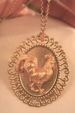 Delightful Swirl Rim Sculpted Rooster Textured Center Goldtone Necklace Brooch