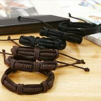 Fashion Men Charm Bangle Handmade Vintage Punk Braided Genuine Leather Bracelet