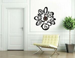 Reloj de Pared DiY Adhesivo Ondas Negro Decoración Salones Comedor Dormitorios