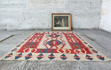 "Handmade Vintage Decorative Ethnic Anatolian Decorative Kilim Area Rug5'6""x3'10"""