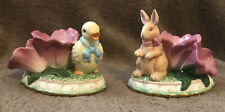 Avon Springtime Collection Taper Candle Holders-Easter Duck & Bunny