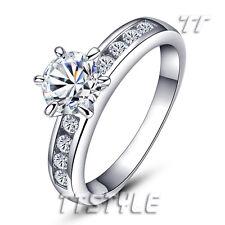 TT 18K White Gold GP Engagement Wedding Ring (RF47)
