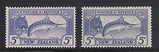 New Zealand SG 584, 584b MLH. 1936-41 5p Swordfish, perf 13¼x13½ & 12½ VF
