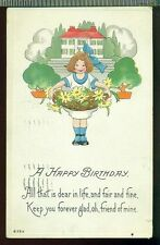 OH FRIEND OF MINE Sweet Young Girl Basket Flowers Vintage 1915 Birthday Postcard
