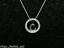 "Cubic Zirconia ""C"" Choker Necklace Vtg Kr Signed Silver Tone Cz"