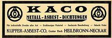 KACO Kupfer-Asbest-Co. Gustav Bach Heilbronn Neckar Historische Reklame von 1922