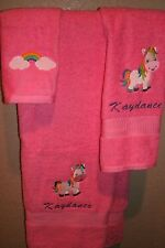 Unicorn Rainbow Personalized 3 Piece Bath Towel Set Any Color