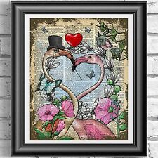 DICTIONARY PAGE ART PRINT VINTAGE ANTIQUE BOOK Pink Flamingos Wedding Gift Idea