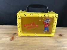 1995 CHUCK E CHEESE'S VINTAGE VINYL PLASTIC KIDS LUNCH/CRAYON BOX WITH HANDLE