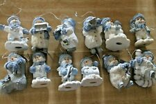 Lot of 12 Resin Blue & White Snowmen Christmas Ornaments EUC