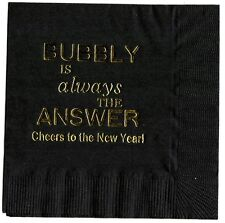 """25 """"BUBBLY """" Black NEW YEARS PARTY cocktail NAPKINS in Gold"""