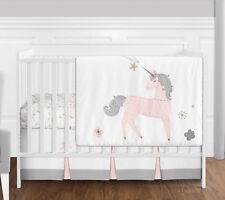 Bumperless Blush Pink Grey Gold Unicorn Toile Floral Baby Girls Crib Bedding Set