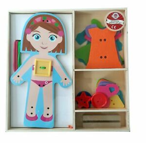 Childrens Wooden Dress Up Girl & Accessories Play Set Girls Toy (3 Years+)