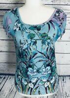 Bila Women's Petite Large Juniors Blouse Short Sleeve Beaded Fringe Floral