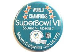 """Vintage NFL Football 1973 SuperBowl VII Dolphins vs. Redskins 3"""" Pinback Button"""