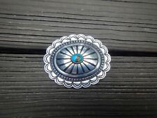 TURQUOISE AND SILVER NAVAJO CONCHO PIN