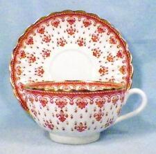 Spode Fleur de Lys Cup & Saucer Y7481 Red Bone China Gold Trim Scalloped