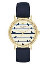 NEW Kate Spade New York KSW1022 Metro Dark Navy Leather Strap Women's Watch