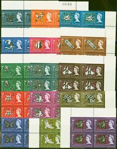 Solomon Is 1966 set of 15 SG135A-152a in Superb MNH Blocks of 4