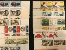US MINT PLATE BLOCK stamp collection 40 ALL DIFFERENT  -  6 cent blocks Of 4 MNH
