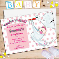 10 Personalised Pregnancy Stork Baby Girl Pink Shower Party Invitations N14