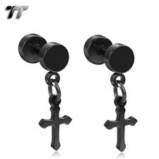 TT Black Surgical Steel Cross Dangle Fake Ear Plug Earrings (BE164D) NEW