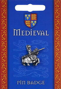 Medieval Jousting Knight Silver Pewter Lapel Pin Badge