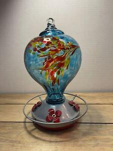 Grateful Gnome Blue Art Glass Hummingbird Feeder