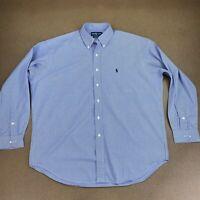 Ralph Lauren Men's Size Large Blue White Plaid BLAKE Long Sleeve Button Up Shirt