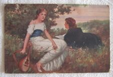 PRETTY GIRL ROMANCE LOVE MANDOLIN FR. KLIMES ARTIST SIGNED  POSTCARD 1916