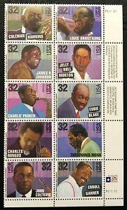 1995 Scott #2983-92 - 32¢ JAZZ MUSICIANS - Plate Block of 10 - Mint NH