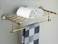 Gold Color Brass Wall Mounted Bathroom Towel Rail Holder Storage Rack Shelf Bar