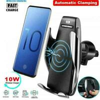 360°Rotate Wireless Auto Clamp Car Fast Charger Phone Vent Holder Mount Air