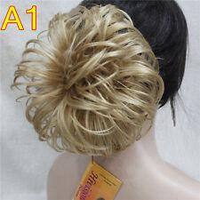 Women Dark Brown blonde mix Hair Synthetic Chignon Bun Ponytails Cosplay