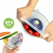 3Pcs Reusable Silicone Keeping Food Fresh Covers Kitchen Bowl Seal Stretch Wraps