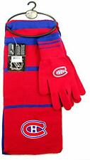 Montreal Canadiens Striped Scarf and Glove Set NHL Hockey