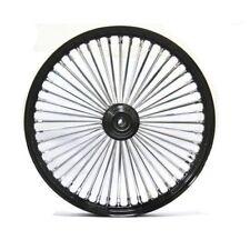 """Black & Chrome 48 King Spoke 21"""" x 2.15"""" Front Wheel for Harley & Custom Models"""