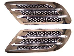 2x Lufthutze Universell Auto SUV Luftstrom Lufteinlass Motorhaube Silber