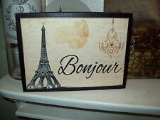 Paris decor Bonjour Eiffel Tower block sign chandlier French shabby decor