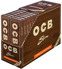 More details for ocb 2300 unbleached slim virgin papers with filters 32 booklets of 32 papers and