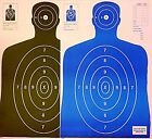 Paper Shooting Targets 25 Black/25 Blue Silhouette Gun Pistol Rifle B-27 Qty:50