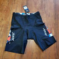 "ZOOT Mens XL Tri Shorts Black Blue Red 9"" Padded Swim Bike Run Triathlon X-Large"