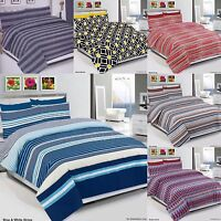 Duvet Cover Set, Bedding Set With Pillow Cases & Fitted Sheet All Sizes