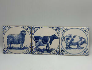 Vintage PILKINGTON Blue White WALL TILE England SHEEP COW PIG Farm Animals