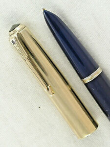 "VINTAGE 1943 PARKER ""51"" VACUMATIC FOUNTAIN PEN ~ GOLD FILLED CAP ~ RESTORED!"