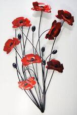 Metal Wall Art Black Stem Red Poppy Flower Contemporary Garden Home Gift/Present